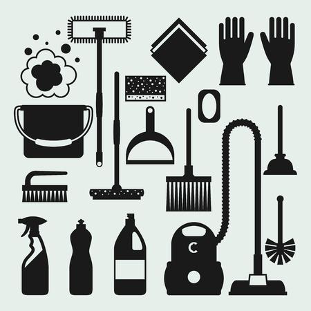 orden y limpieza: Iconos de limpieza servicio de limpieza. Imagen se puede utilizar en los banners, páginas web, diseños. Vectores