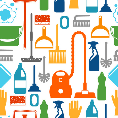 suds: Housekeeping lifestyle seamless pattern with cleaning icons. Background for backdrop to site, textile printing and wrapping paper. Illustration