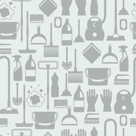 Modelo inconsútil del servicio de limpieza de estilo de vida con los iconos de limpieza. Antecedentes de telón de fondo al sitio, impresión textil y papel de envolver.