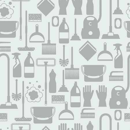 Housekeeping lifestyle seamless pattern with cleaning icons. Background for backdrop to site, textile printing and wrapping paper. Vettoriali