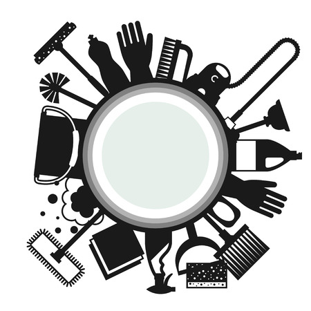 cleaning: Housekeeping background with cleaning icons. Image can be used on advertising booklets, banners, flayers, article, social media. Illustration