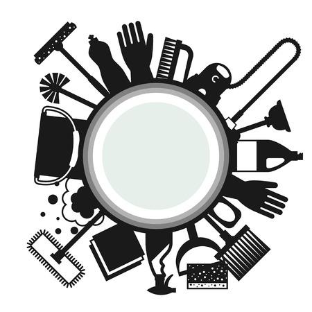 sfondo di pulizie con icone di pulizia. Immagine può essere utilizzato su opuscoli pubblicitari, striscioni, flayer, articolo, social media.