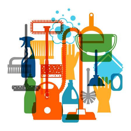 orden y limpieza: La limpieza de fondo con los iconos de limpieza. La imagen se puede utilizar en folletos publicitarios, banners, desolladores, el art�culo, los medios sociales.