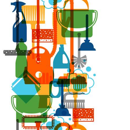 orden y limpieza: Modelo inconsútil del servicio de limpieza de estilo de vida con los iconos de limpieza. Antecedentes de telón de fondo al sitio, impresión textil y papel de envolver.