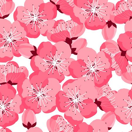 flor de sakura: Modelo inconsútil de sakura japonés con flores estilizadas. Antecedentes de hecho sin la máscara de recorte. Fácil de usar para el telón de fondo, textiles, papel de envolver.
