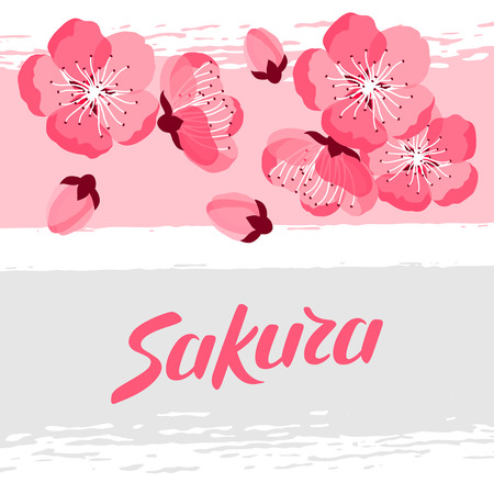 greeting stylized: Japanese sakura background with stylized flowers. Image for holiday invitations, greeting cards, posters.
