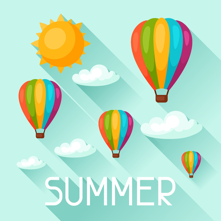 air balloon: Summer background with hot air balloons. Image for advertising booklets, banners, flayers, article, social media.