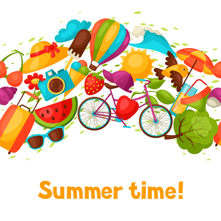 summer clothes: Seamless pattern with stylized summer objects. Background made without clipping mask. Easy to use for backdrop, textile, wrapping paper.
