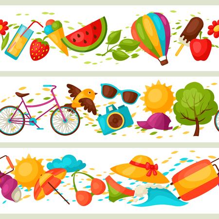ropa de verano: patrones transparentes con objetos de verano estilizadas. Antecedentes de hecho sin la máscara de recorte. Fácil de usar para el telón de fondo, textiles, papel de envolver.