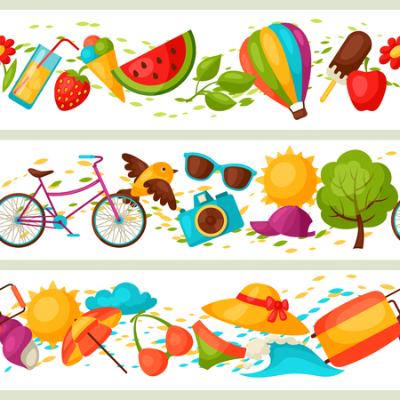 summer clothes: Seamless patterns with stylized summer objects. Background made without clipping mask. Easy to use for backdrop, textile, wrapping paper.