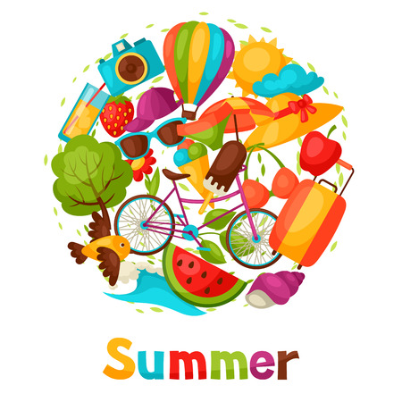 design objects: Background with stylized summer objects. Design for cards, covers, brochures and advertising booklets.