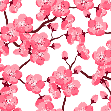 cherries: Japanese sakura seamless pattern with stylized flowers. Background made without clipping mask. Easy to use for backdrop, textile, wrapping paper. Illustration
