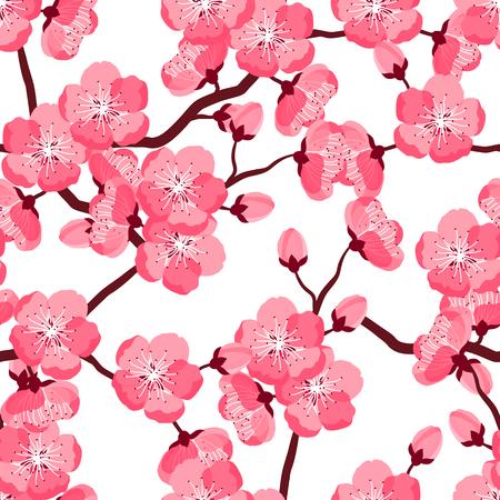 Japanische Kirschblüte nahtlose Muster mit stilisierten Blumen. Hintergrund gemacht, ohne Clipping-Maske. Einfach für Kulisse, Textil, Geschenkpapier zu verwenden.