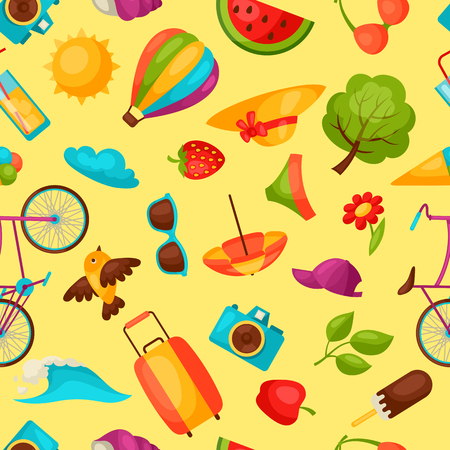 objects paper: Seamless pattern with stylized summer objects. Background made without clipping mask. Easy to use for backdrop, textile, wrapping paper.