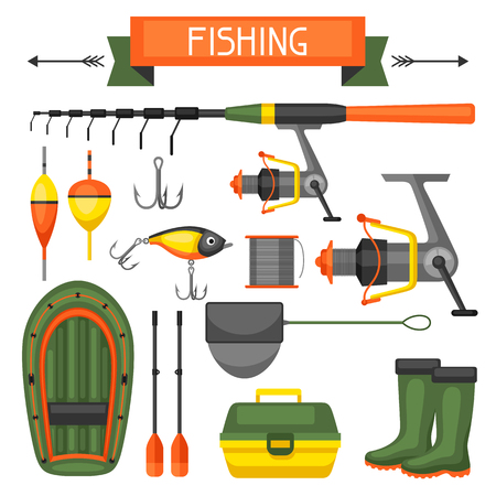wobbler: Set of fishing supplies.Objects for decoration, design on advertising booklets, banners, flayers.