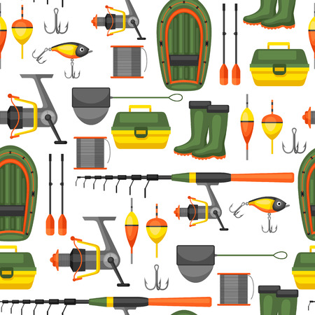 fishing net: Seamless pattern with fishing supplies. Background made without clipping mask. Easy to use for backdrop, textile, wrapping paper.