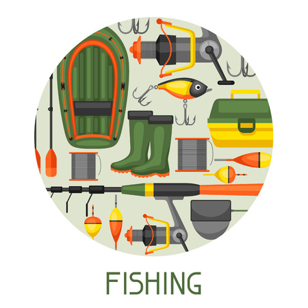advertising wobbler: Background with fishing supplies. Design for flayers, covers, brochures and advertising booklets. Illustration