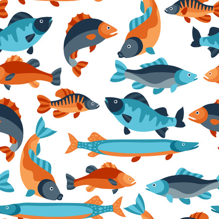 the perch: Seamless pattern with various fish. Background made without clipping mask. Easy to use for backdrop, textile, wrapping paper.