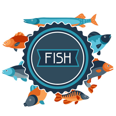 flayers: Background with various fish. Image for advertising booklets, banners, flayers, article and social media. Illustration