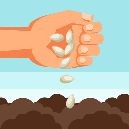 sows: Illustration of human hand sows seeds into soil.