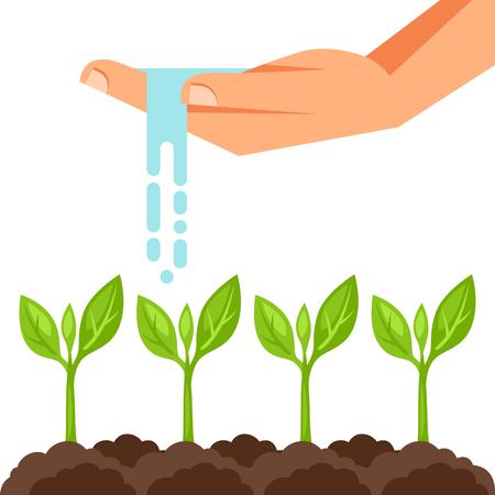 Illustratie van de planten water geven van de hand. Afbeelding voor reclame folders, banners, flayers en artikelen.