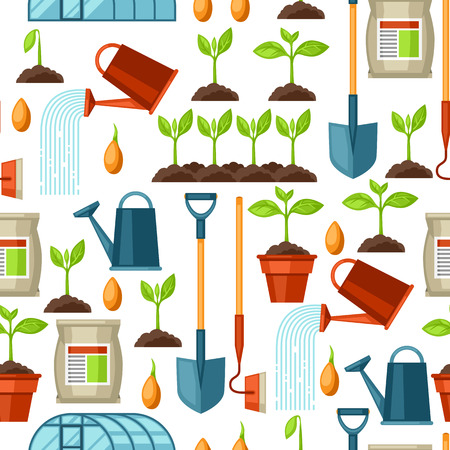 rural development: Seamless pattern with agriculture objects. Instruments for cultivation, plants seedling process, stage plant growth, fertilizers and greenhouse.