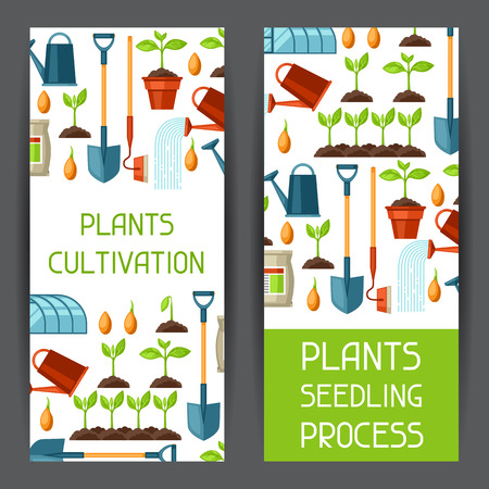 rural development: Banners for cultivation, plants seedling process, stage plant growth, fertilizers and greenhouse. Illustration