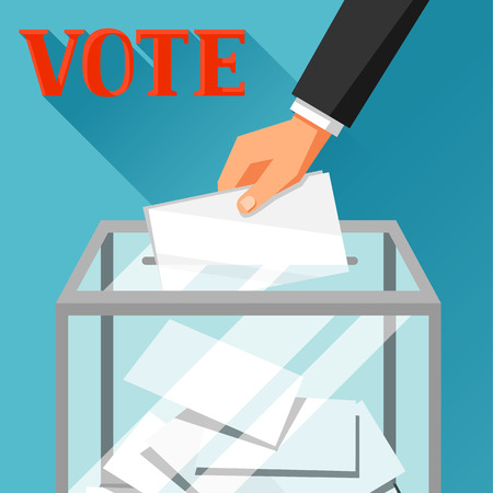 electorate: Hand putting voting paper in ballot box. Political elections illustration for banners, web sites, banners and flayers.