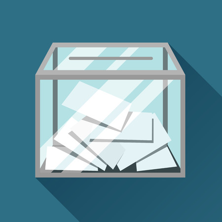 electorate: Voting papers in ballot box. Political elections illustration for banners, web sites, banners and flayers.