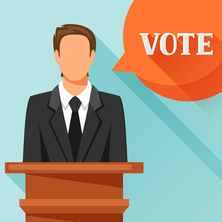 debate: Candidate of party involved in debate. Political elections illustration for banners, web sites, banners and flayers.