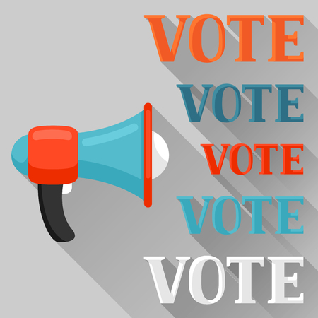 electorate: Megaphone calling vote. Political elections illustration for banners, web sites, banners and flayers.