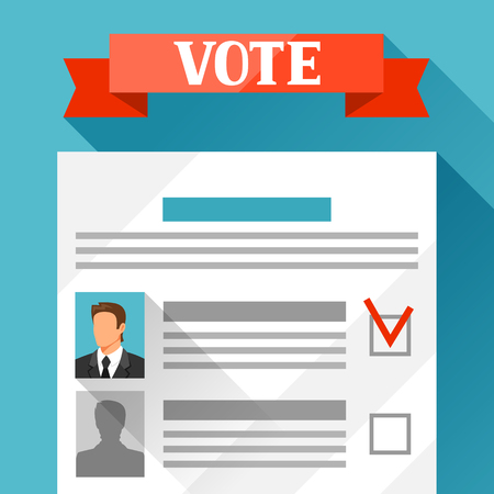 flayers: Voting ballot with selected candidate. Political elections illustration for banners, web sites, banners and flayers. Illustration