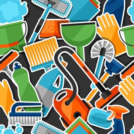 orden y limpieza: Modelo inconsútil de limpieza estilo de vida con iconos etiqueta de limpieza. Antecedentes de telón de fondo al sitio, impresión textil y papel de envolver. Vectores