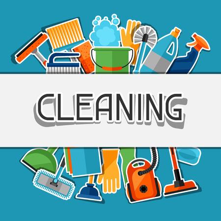 Entretien ménager fond avec des icônes d'autocollant de nettoyage. L'image peut être utilisé sur les brochures publicitaires, des bannières, des écorcheurs, l'article, les médias sociaux.