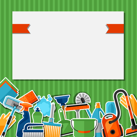 housekeeping: Housekeeping background with cleaning sticker icons. Image can be used on advertising booklets, banners, flayers, article, social media. Illustration