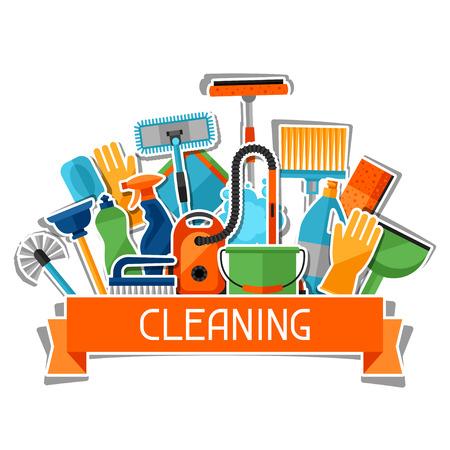 Entretien ménager fond avec des icônes d'autocollant de nettoyage. L'image peut être utilisé sur les brochures publicitaires, des bannières, des écorcheurs, l'article, les médias sociaux. Vecteurs
