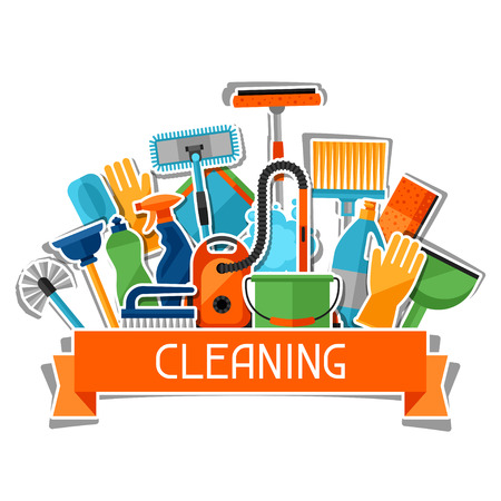 Housekeeping background with cleaning sticker icons. Image can be used on advertising booklets, banners, flayers, article, social media. Stock Illustratie