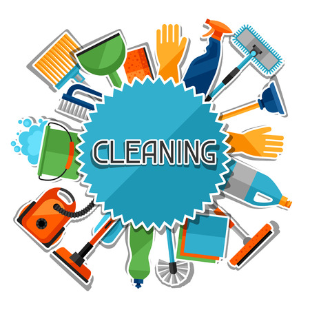 work home: Housekeeping background with cleaning sticker icons. Image can be used on advertising booklets, banners, flayers, article, social media. Illustration