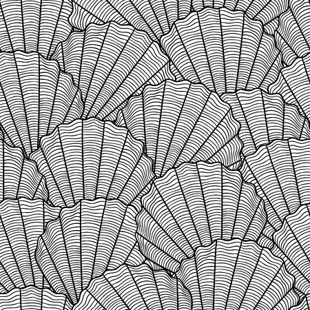 sea shell: Marine seamless pattern with stylized seashells. Background made without clipping mask. Easy to use for backdrop, textile, wrapping paper. Illustration