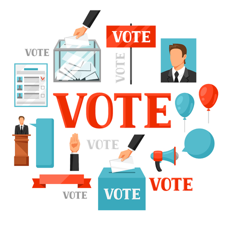 election debate: Vote political elections concept. Illustration for campaign leaflets, web sites and flayers. Illustration