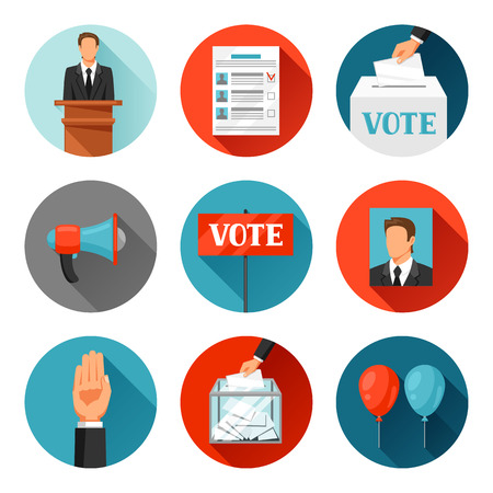 electorate: Vote political elections icons. Illustrations for campaign leaflets, web sites and flayers. Illustration