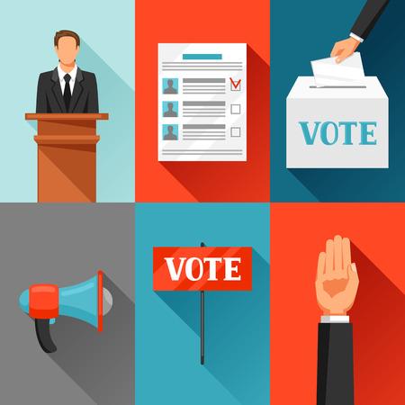 Vote des élections politiques concept. Illustration pour des dépliants de la campagne, les sites Web et écorcheurs. Vecteurs