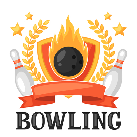 fire ball: Bowling emblem with game objects. Image for advertising booklets, banners, flayers.