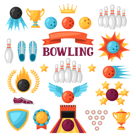fire ball: Set of bowling game items. Objects for decoration, design on advertising booklets, banners, flayers.