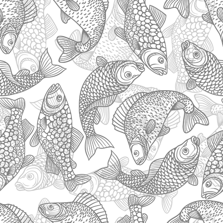decorative fish: Seamless pattern with decorative fish. Background made without clipping mask. Easy to use for backdrop, textile, wrapping paper. Illustration