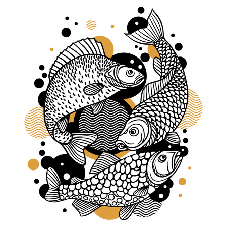 decorative fish: Background with decorative fish. Image for design on t-shirts, prints, decorations brochures and websites.