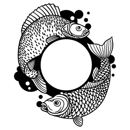 outline drawing of fish: Circle frame with decorative fish. Image for design on t-shirts, prints, decorations brochures and websites.