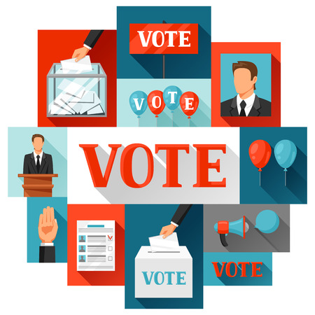 political: Vote political elections concept. Illustration for campaign leaflets, web sites and flayers. Illustration