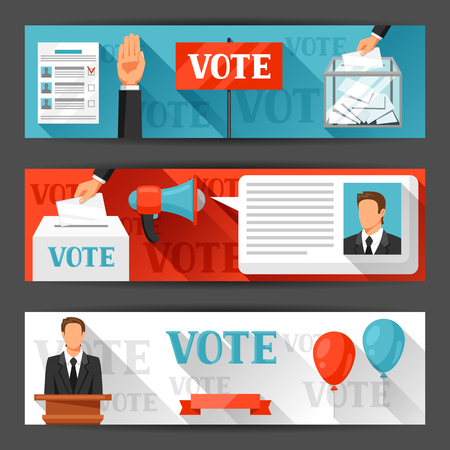 leaflets: Vote political elections banners. Backgrounds for campaign leaflets, web sites and flayers. Illustration