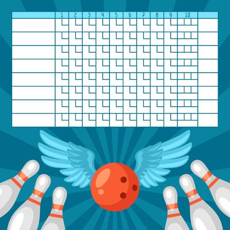 Bowling Spielberichtsbogen. Leere Vorlage Anzeiger mit Spielobjekten. Vektorgrafik